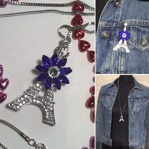 Sparkle rhinestone Eiffel Tower necklace / brooch